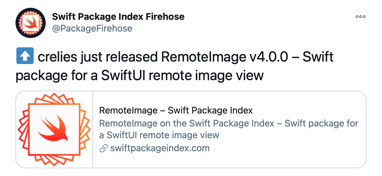 A screenshot of a tweet from the package firehose account.